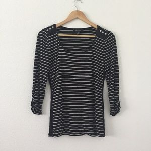 White House Black Market Stripe Scoop Neck Blouse